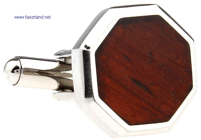 Metal Cufflinks with Redwood